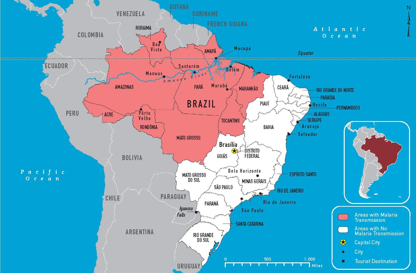 Brasilia Malaria Kartta Malaria Brasilia Kartta Etela Amerikka