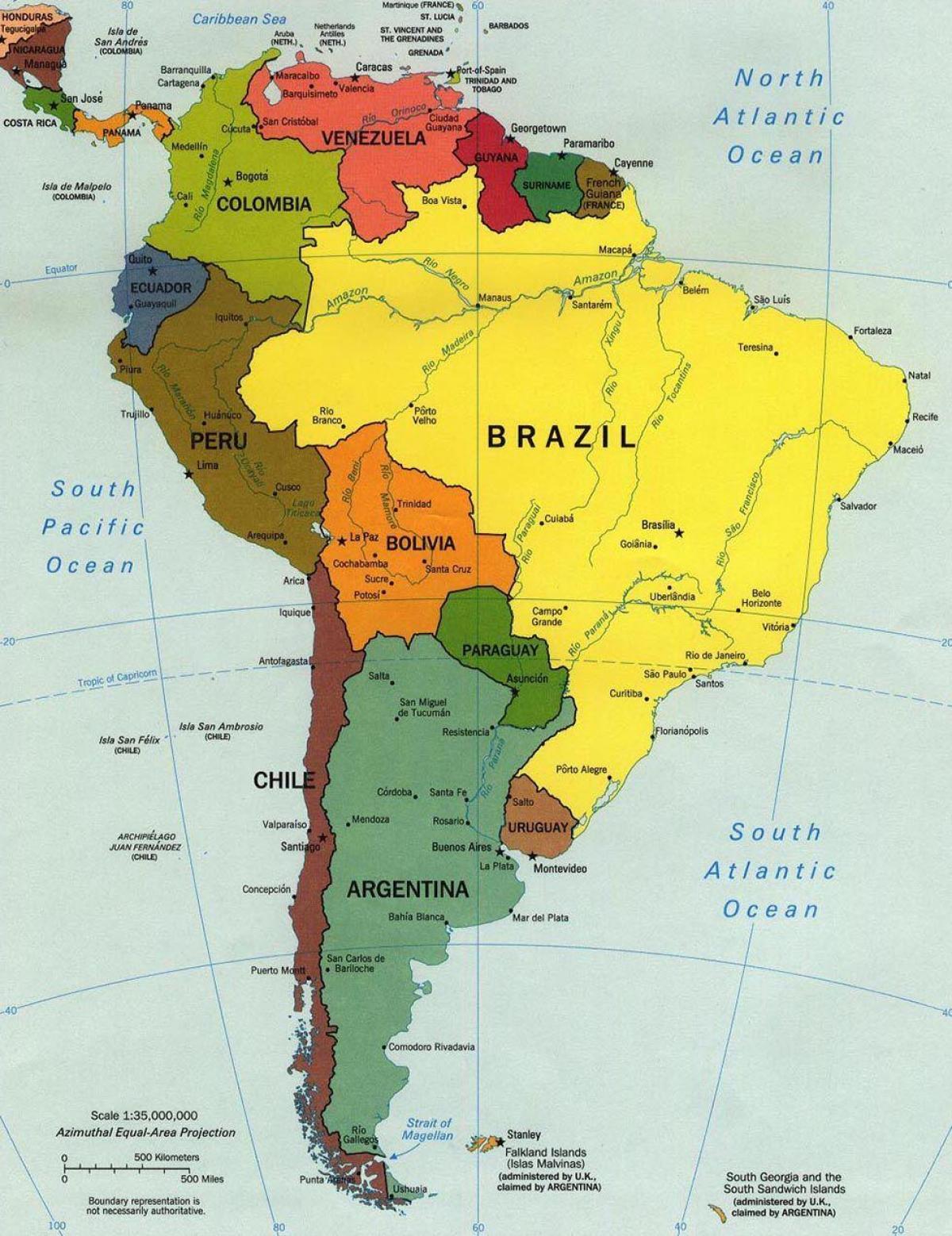 brasilia on etel amerikan kartan